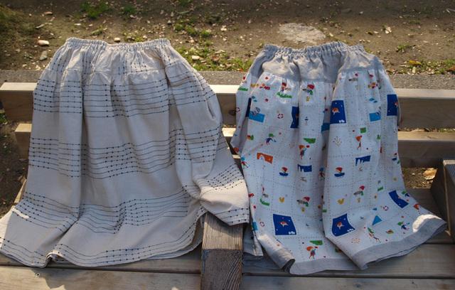 スカート ボーダー刺繍・子供達