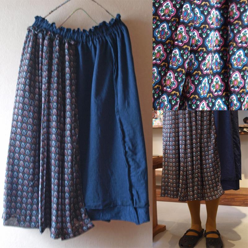 レトロ 重ね着みたいなスカート ネイビー